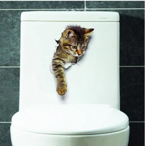3D Katze Tier Badezimmer Schlafzimmer Dekor Wandaufkleber für 0,09€