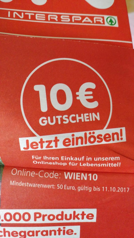 10€ Gutschein für den Interspar Onlineshop MBW: 50€