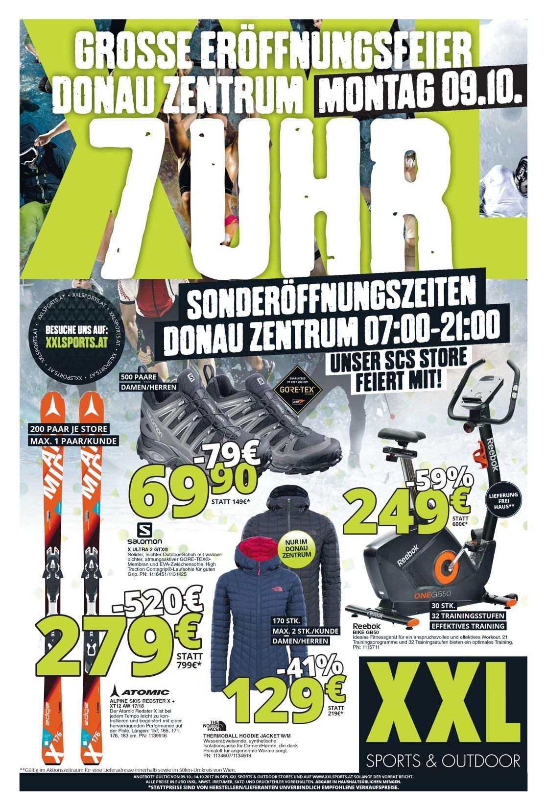 XXL Sports & Outdoor Wien Donauzentrum - Neueröffnung am 9. Oktober - Alle Eröffnungsangebote (+ Online / SCS)