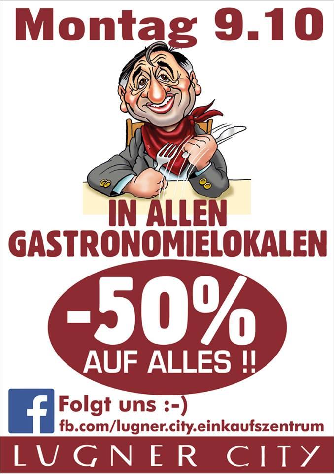 Lugner City: 50% Rabatt auf Gastronomie - nur heute 9.10.2017