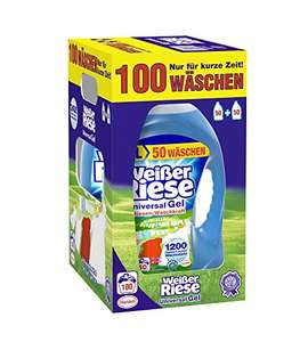 [Amazon] Weißer Riese Universal Gel Waschmittel, 1er Pack (1 x 100 Waschladungen) - 0,12€ pro Waschladung