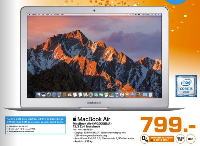 "[Saturn Liesing] Apple MacBook Air 13.3"", Core i5-5350U, 8GB RAM, 128GB SSD (MQD32D/A) für 799€ (12.10. ab 07:00Uhr)"