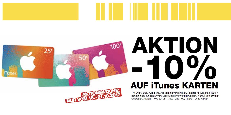 Post: 10% auf iTunes Karten 16.-21. Oktober
