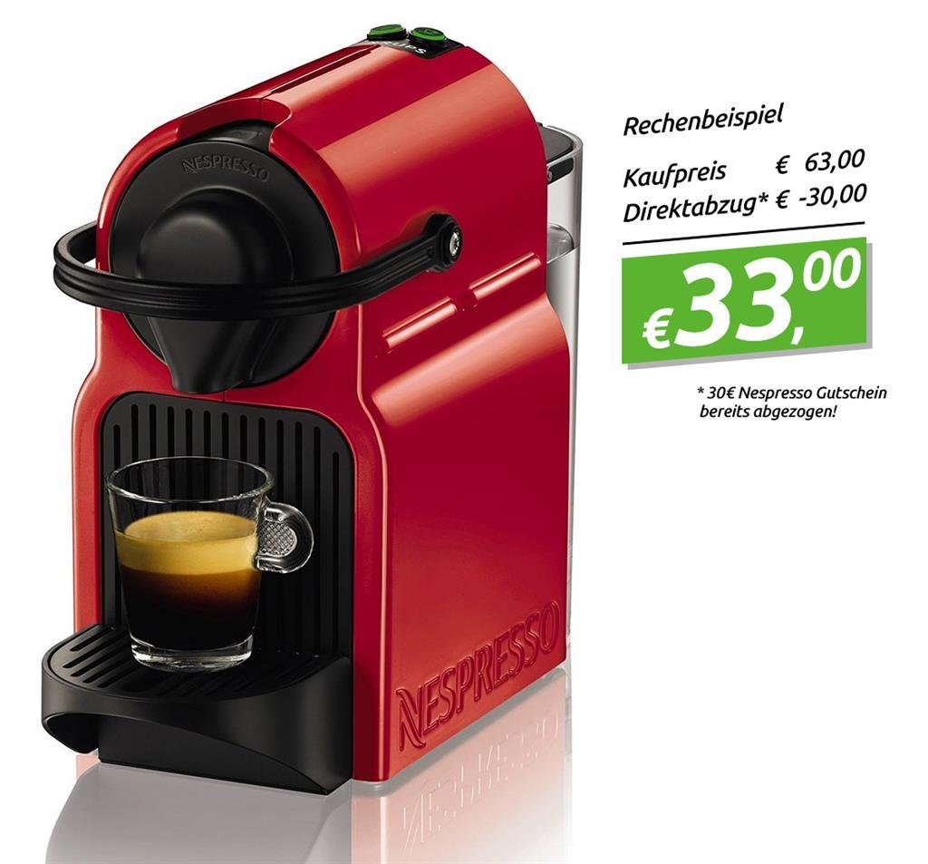 Krups Nespresso Maschine Inissia XN 1005 + Gutschein für 30 Kapseln für 33€