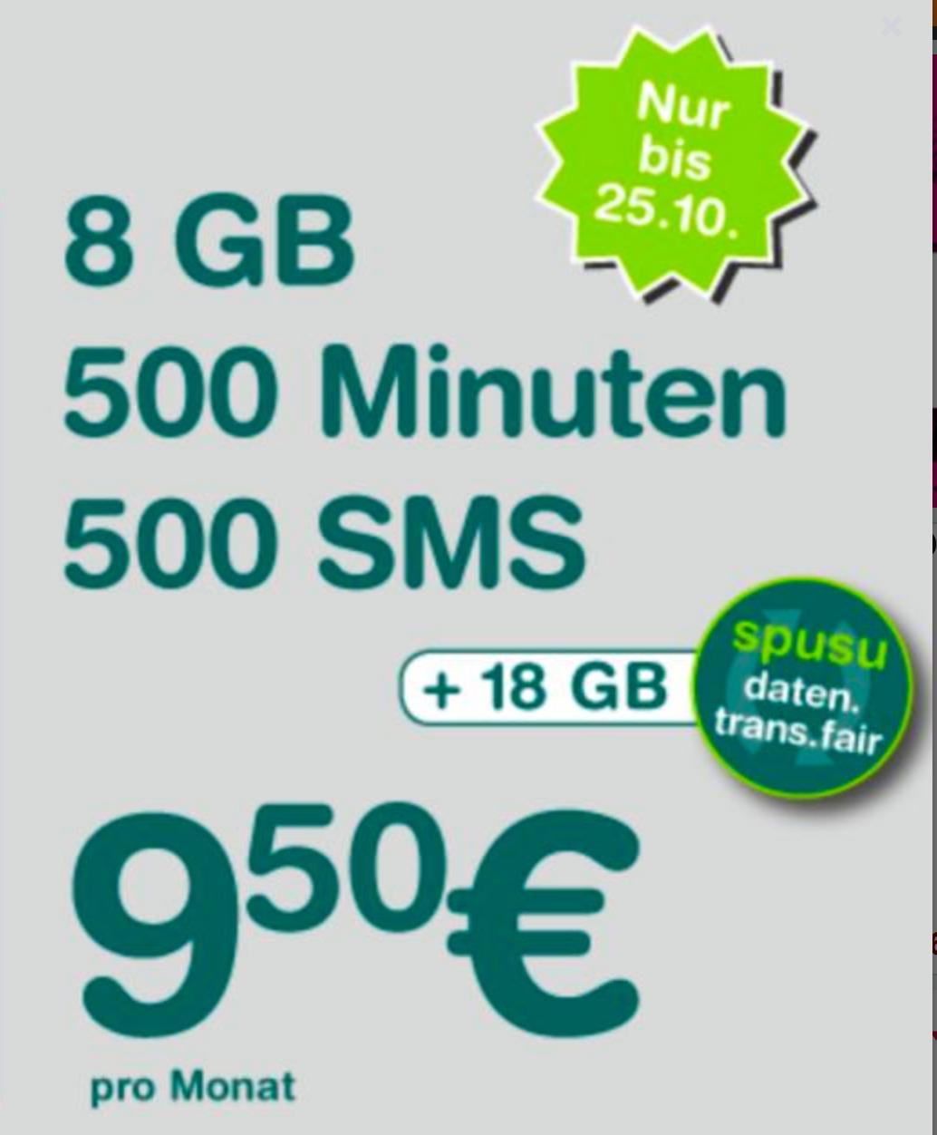 "Spusu ""9000"" (2017 Neuauflage): 500 Min + 500 SMS + 8GB (+18 GB Mitnahme) um 9,50 €"