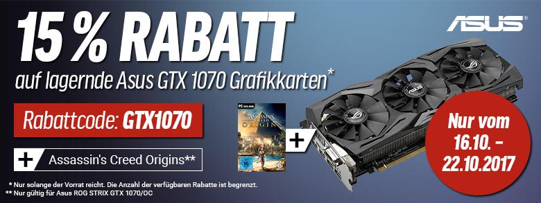 [www.notebooksbilliger.de] -15% Rabatt auf lagernde Geforce GTX1070 Grafikkarten + Kostenlos + Assasins Creed Origins (Solange der Vorrat reicht)