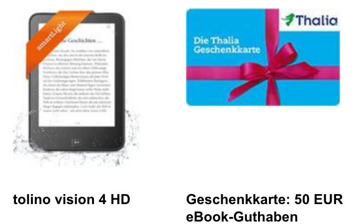Thalia: Tolino vision 4HD + 50 € Geschenkkarte um 179 €