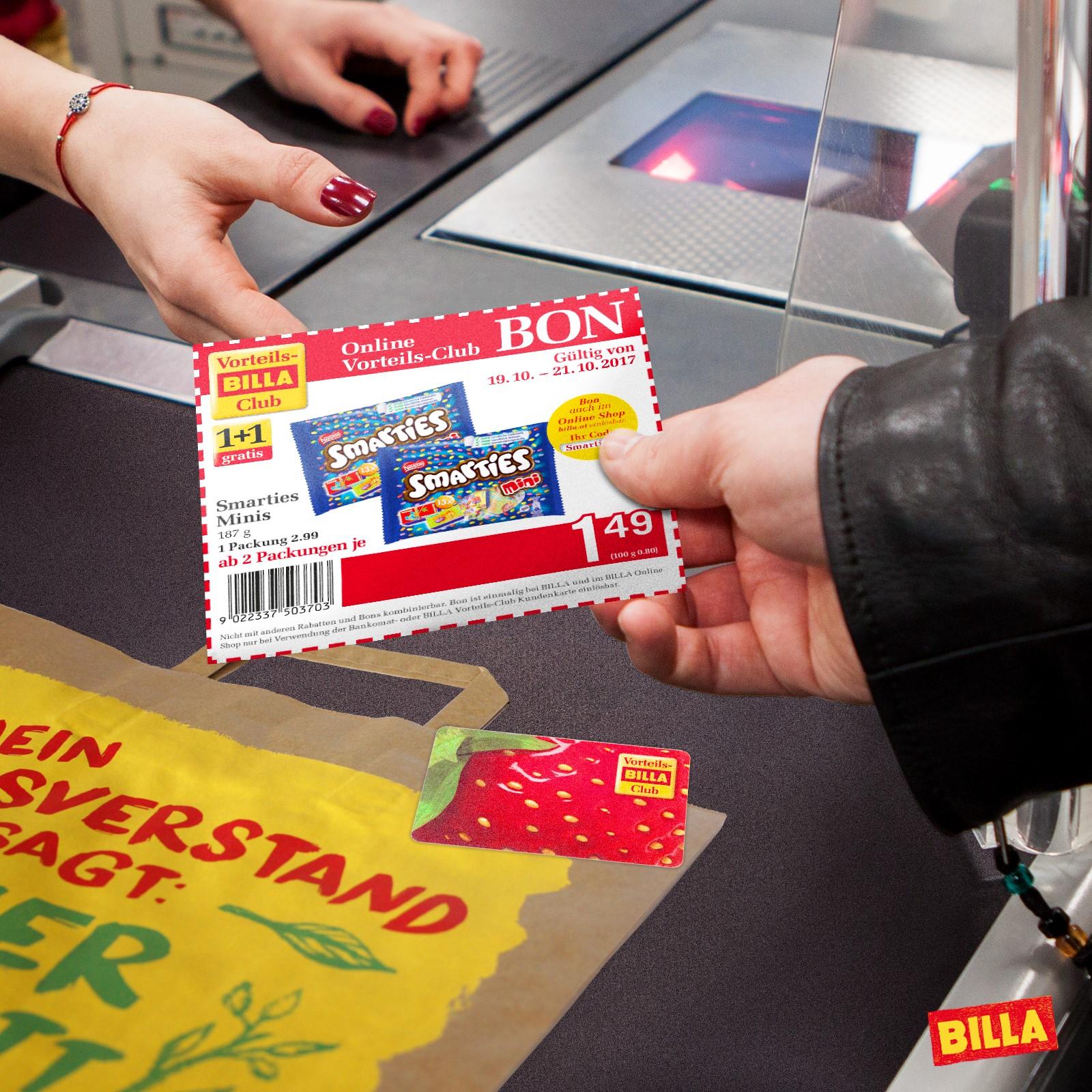 """Billa - Offline&Online Gutschein Code """"Smarties10"""" von 19.-21.10.17 marties Minis, 187 g, 1+1 gratis mit Bon"""