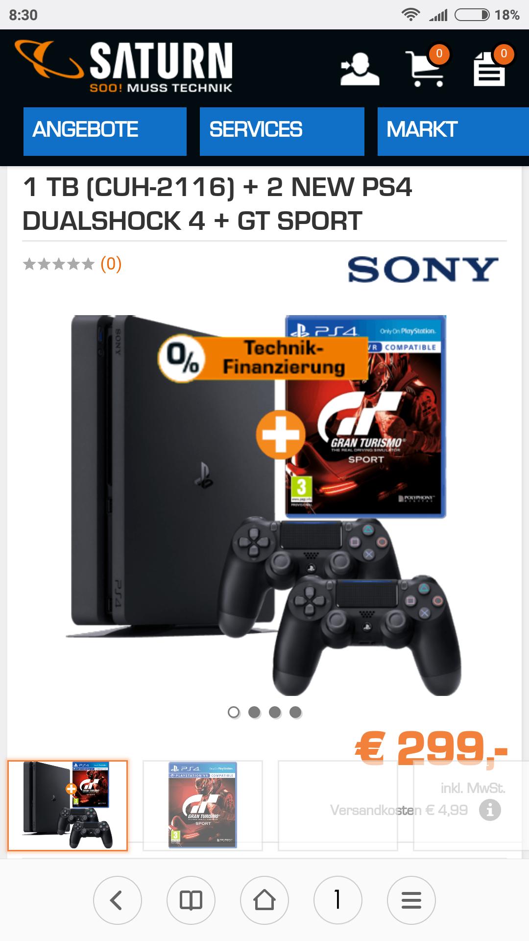 PS4 Slim 1TB+2 Controller +GT Sport