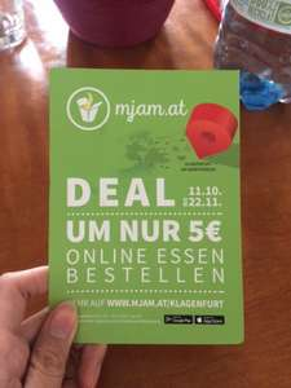 [mjam.at] Klagenfurt Deal - ein Menü um 5€ bis zum 22.11. nach Hause bekommen.