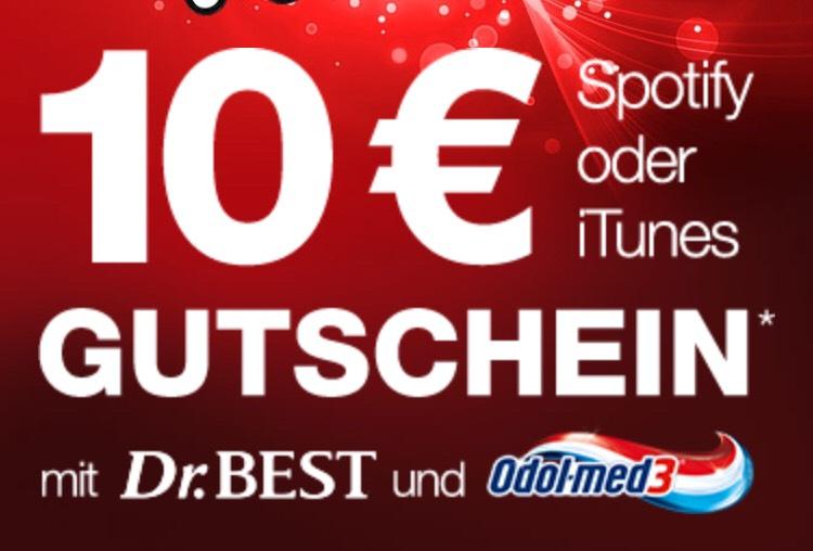 Erhalte einen 10€ Spotify oder iTunes Gutschein beim Kauf von 3 Dr. Best Aktionsprodukten