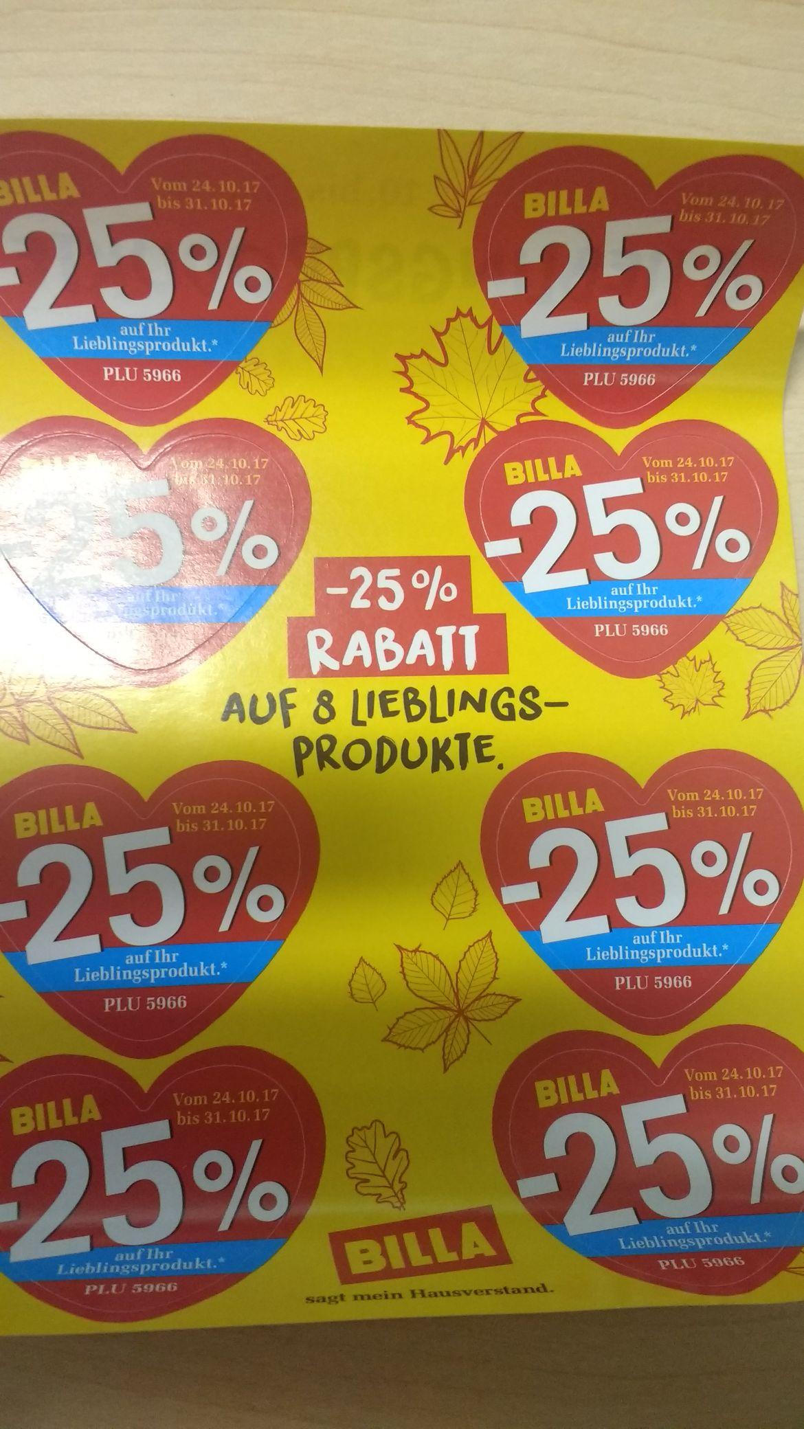 Billa -25% Rabatt-Sticker gültig bis 31.10.2017