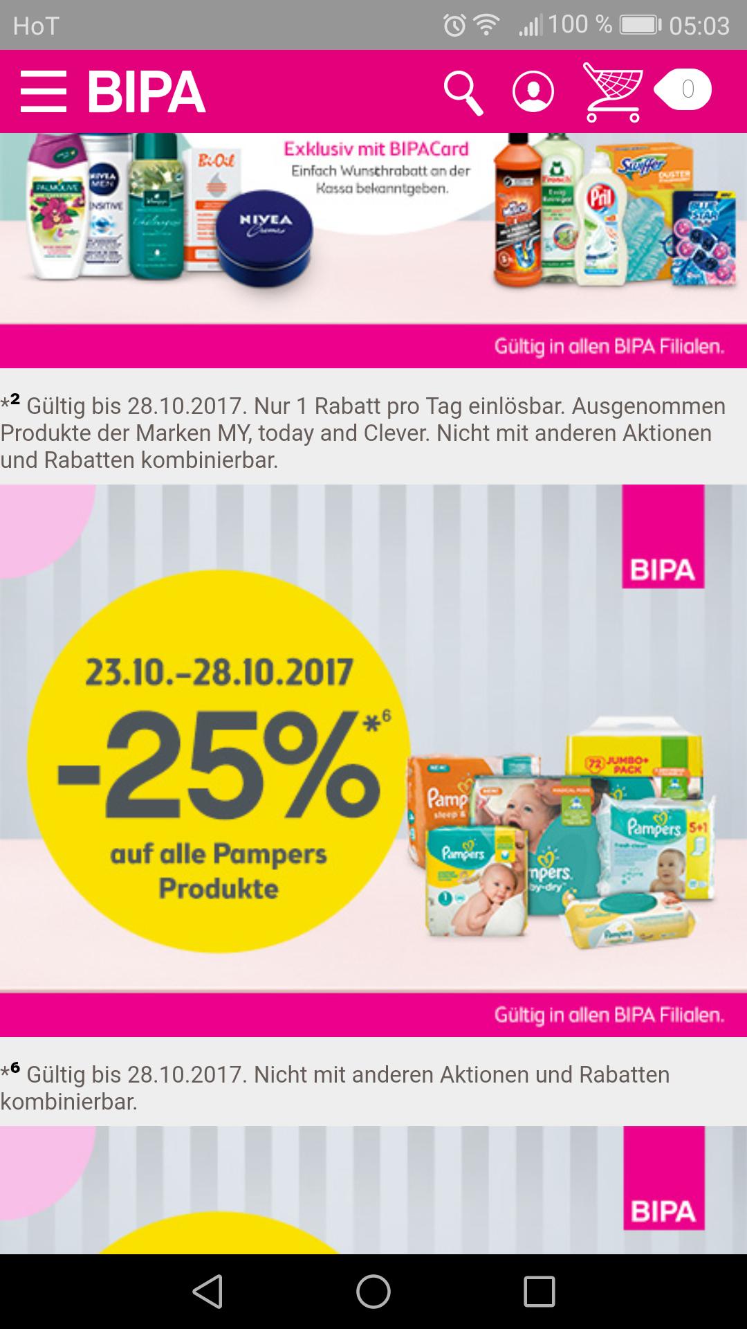 Bipa - 25% auf alle Pampersprodukte in den Filialen