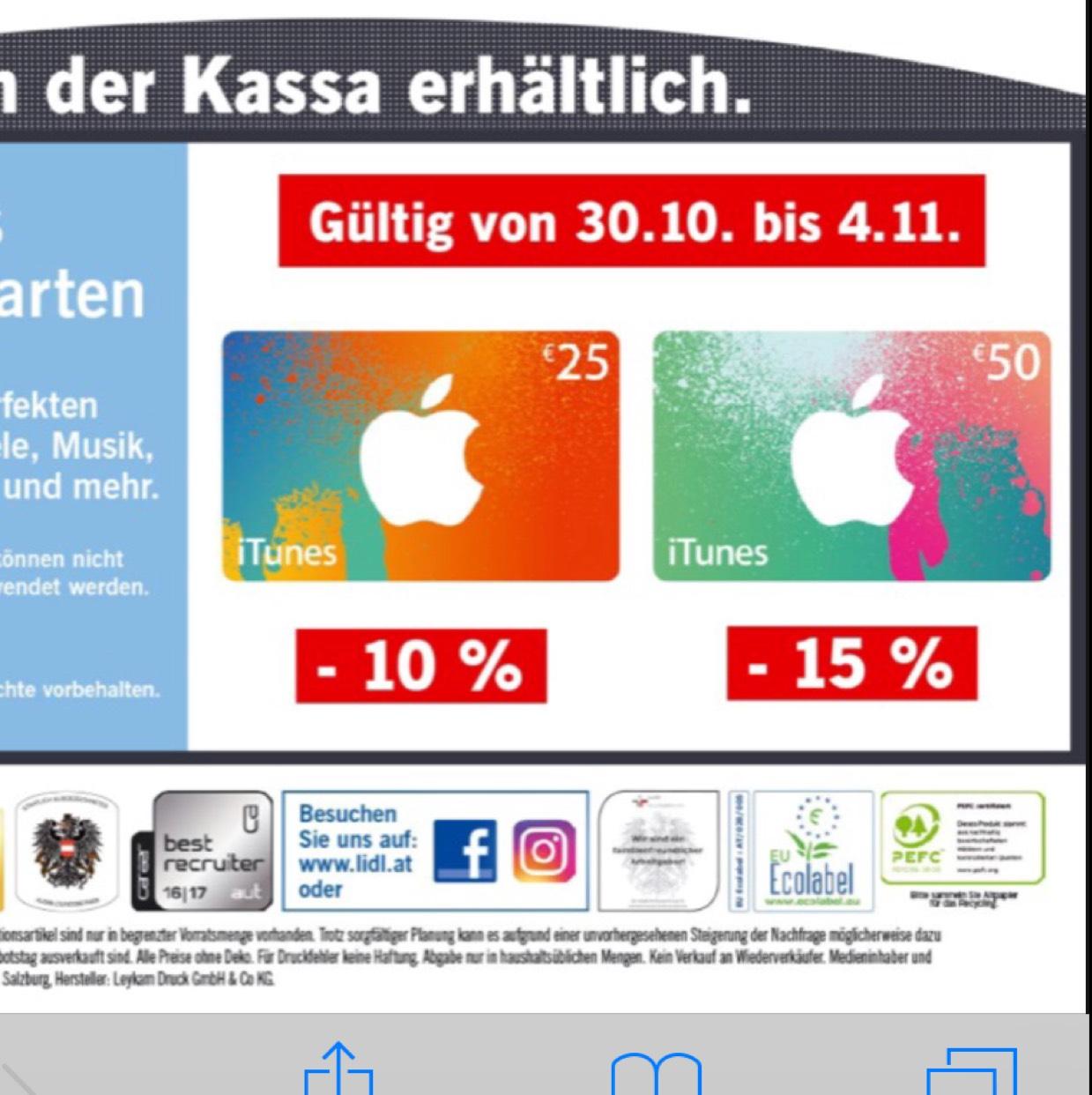 iTunes Karten Aktion 25€ - 10% 50€ - 15%