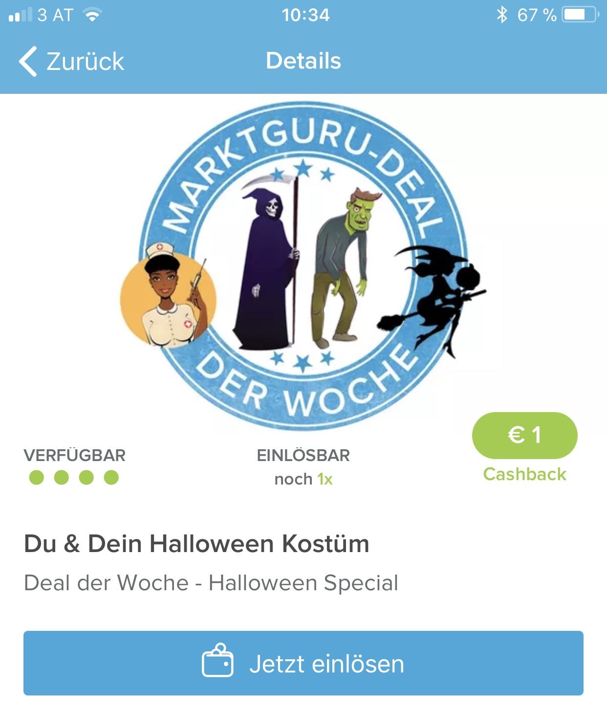 (Gratis) MarktGuru: 1 € für Foto-Upload im Halloween Kostüm