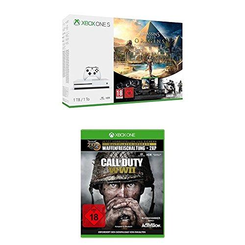 Amazon.de: Xbox One S 500GB - Assassins's Creed Origins Bundle + Call of Duty: WWII um 231,92€ // mit 1TB + zusätzlich Rainbow Six: Siege um 282,35€
