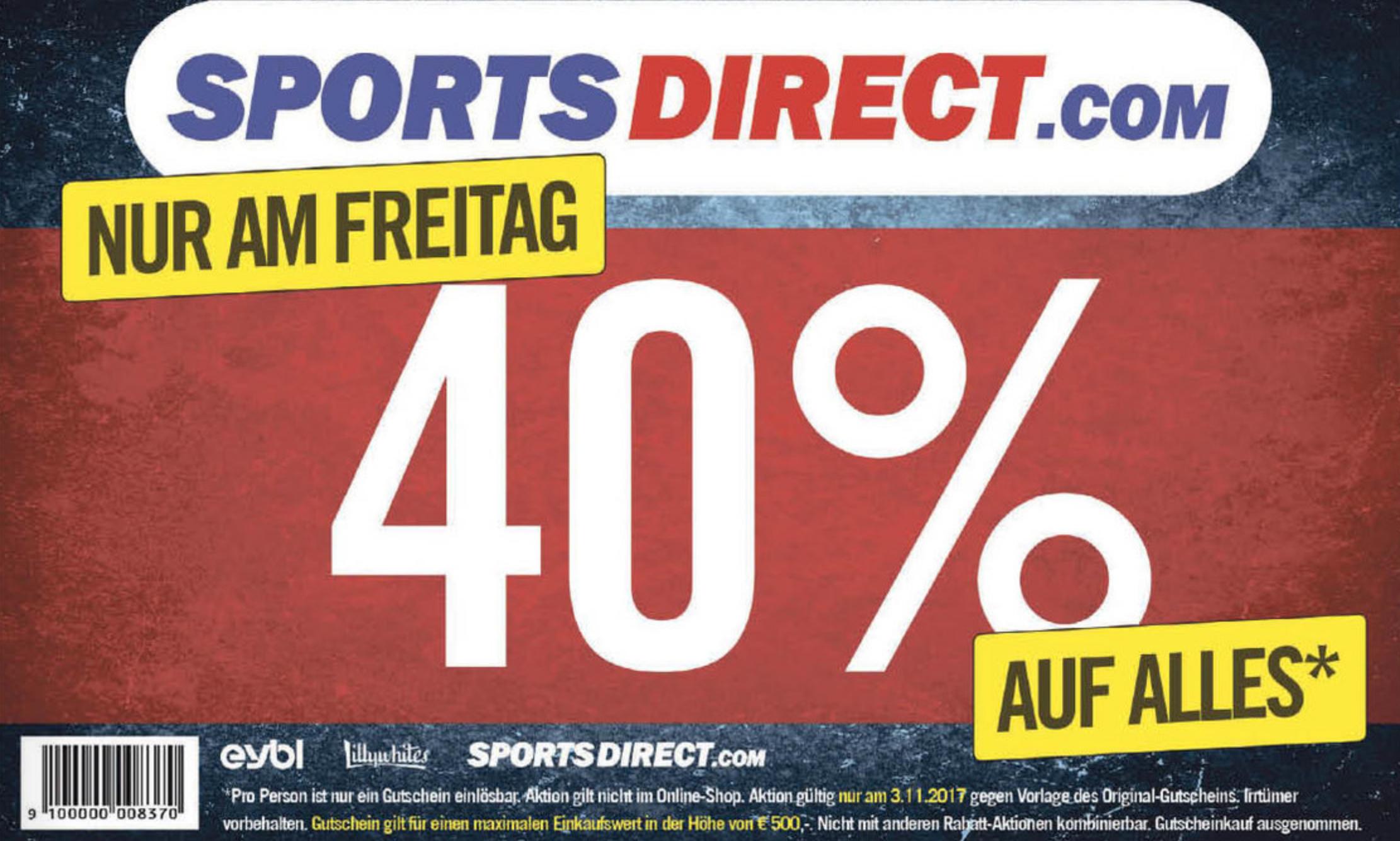 SportsDirect: -40% Sofort-Rabatt auf Alles - am 3.11.2017