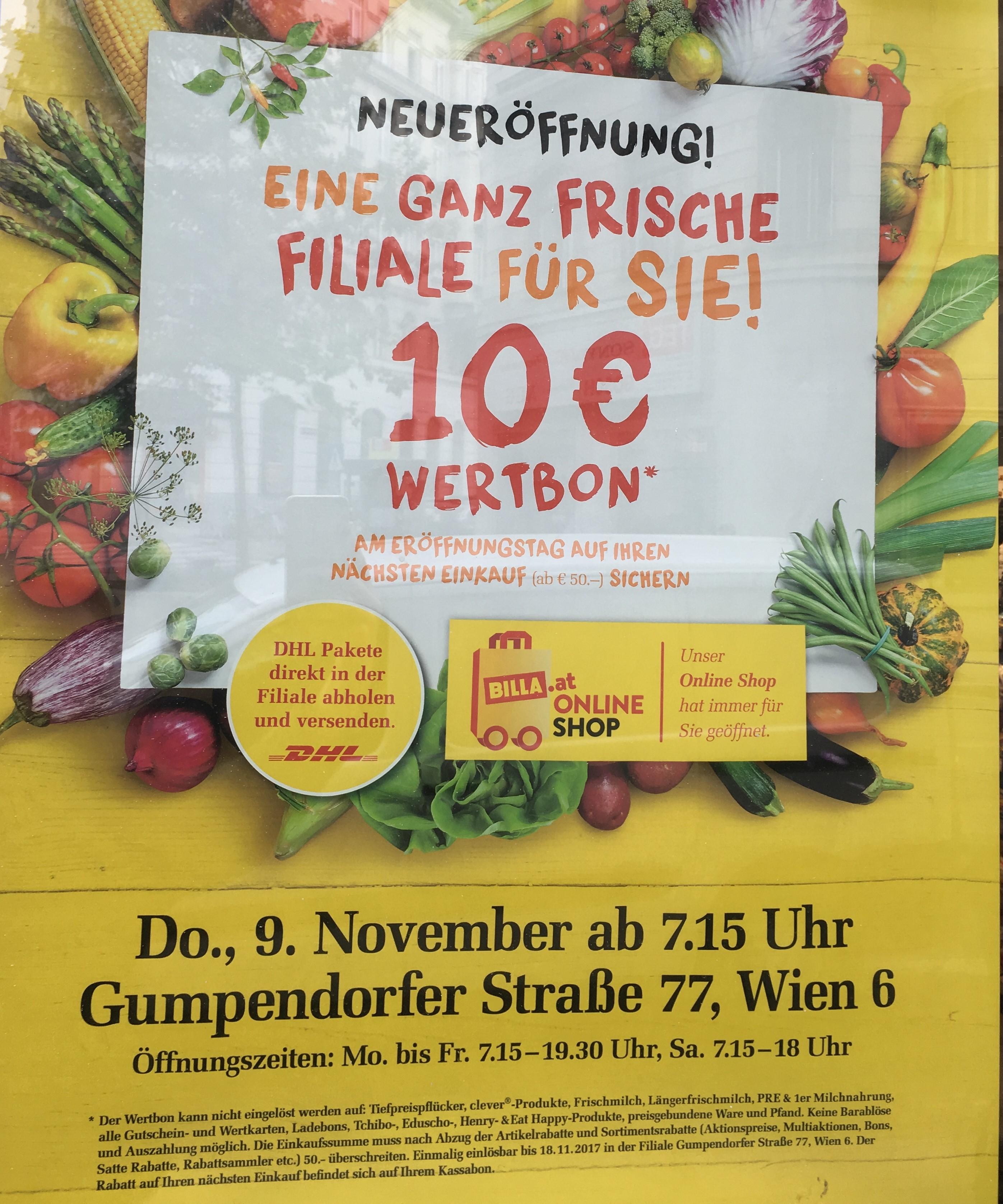 9. November: Billa Neueröffnung: Gumpendorfer Straße 77 - 10€ Werbon