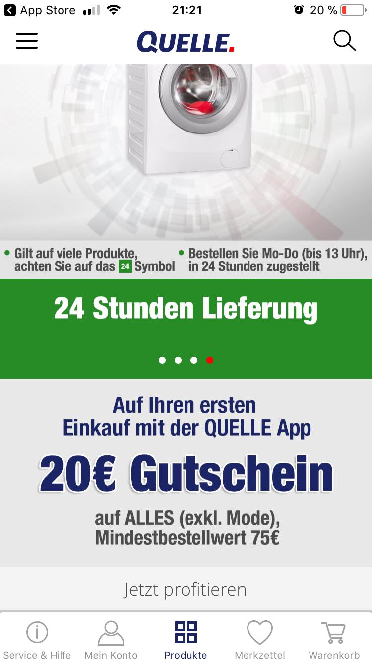 20€ Gutschein auf ALLES außer Mode mit der Quelle App