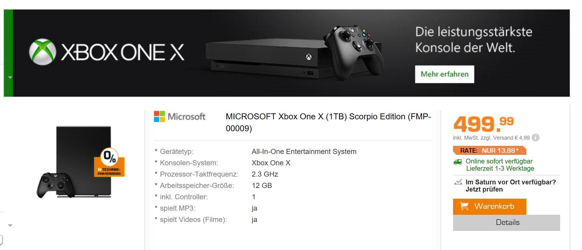 Xbox One Scorpio Edition bei Saturn Online verfügbar
