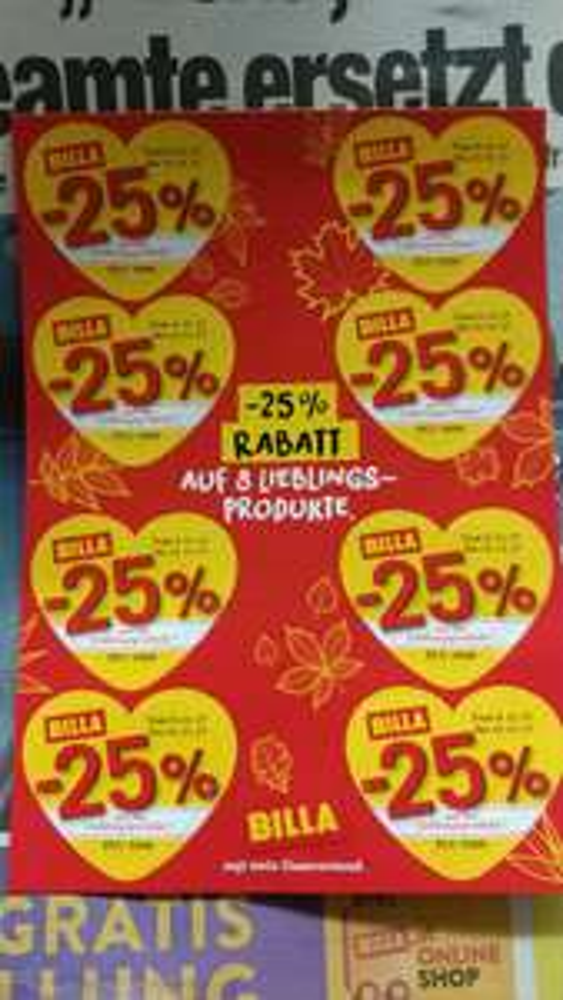 -25% auf 8 Lieblingsprodukte bei Billa