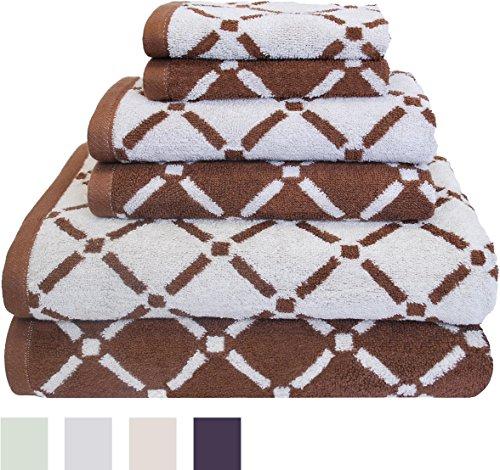 [www.AMAZON.de] Superior - Kollektion, luxuriöses, gestreiftes Handtuchset mit Rauten, 100 % Baumwolle, weiß/cremefarben, 6-teilig  für Prime-Kunden  € 10,39