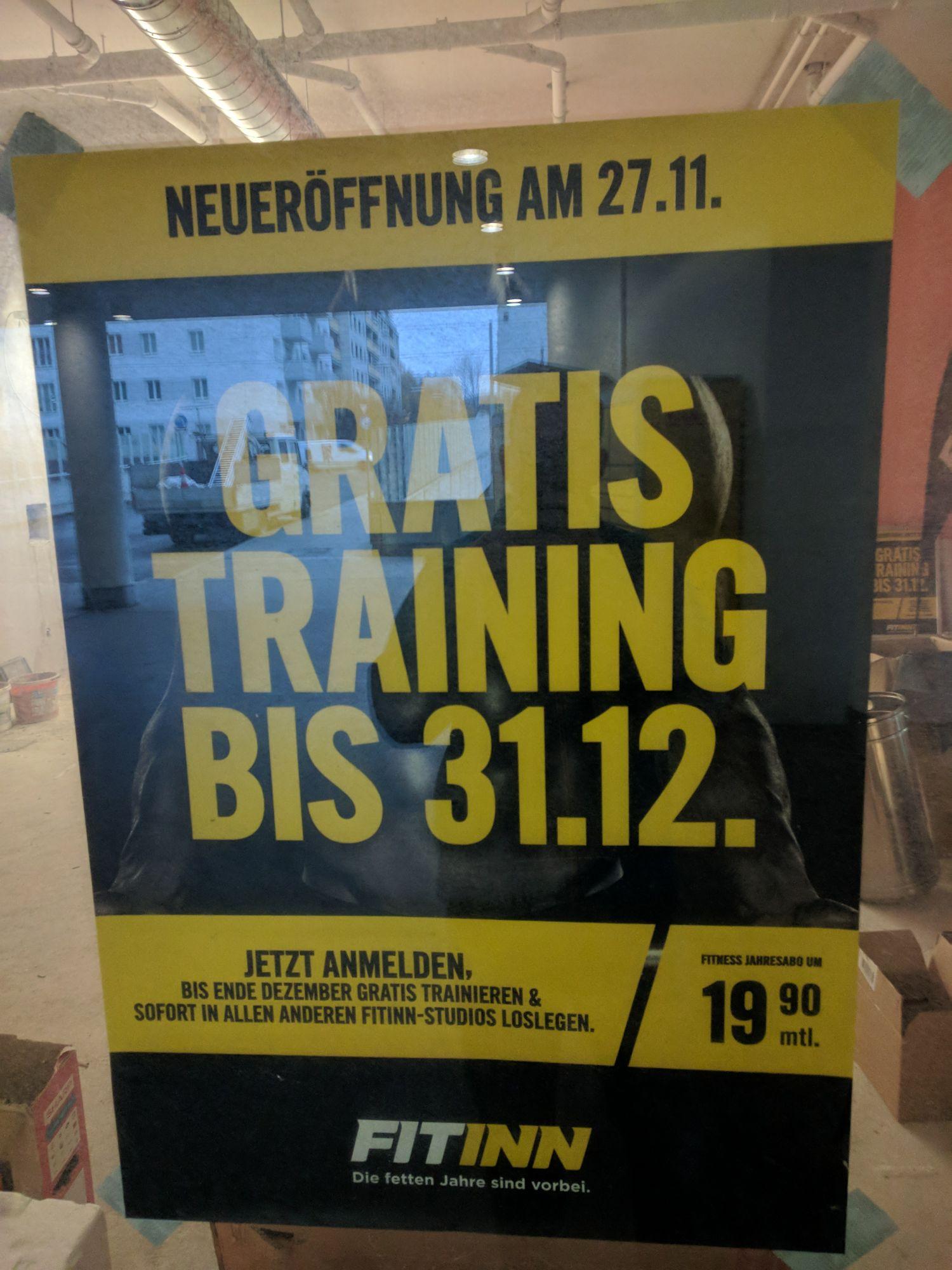 [Lokal] Gratis trainieren im Fitinn bis 31.12 und neu ab 27.11 in Ottakring