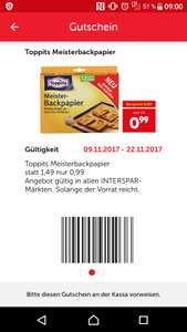 IntersparApp+Marktguru: Toppits Backpapier um 0,49€