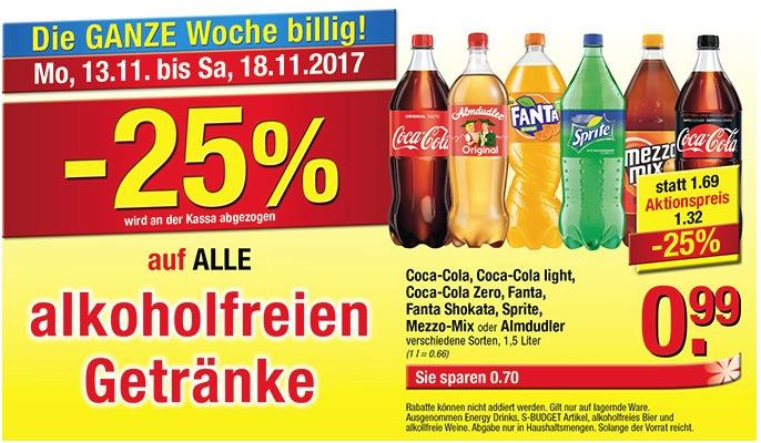 Maxi Markt: -25% auf alle alkoholfreien Getränke