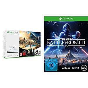 Günstige Xbox One S Konsolenbundles - u.a. mit: Xbox One S 500GB Konsole - Assassin's Creed Origins Bundle + Star Wars Battlefront II für 219,99€