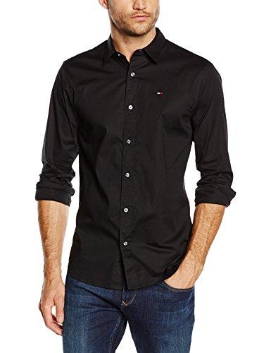 [www.AMAZON.de] Hilfiger Denim Herren Slim Fit Freizeit Hemd in schwarz Original Stretch in allen Größen von XS bis XXL für € 35,28