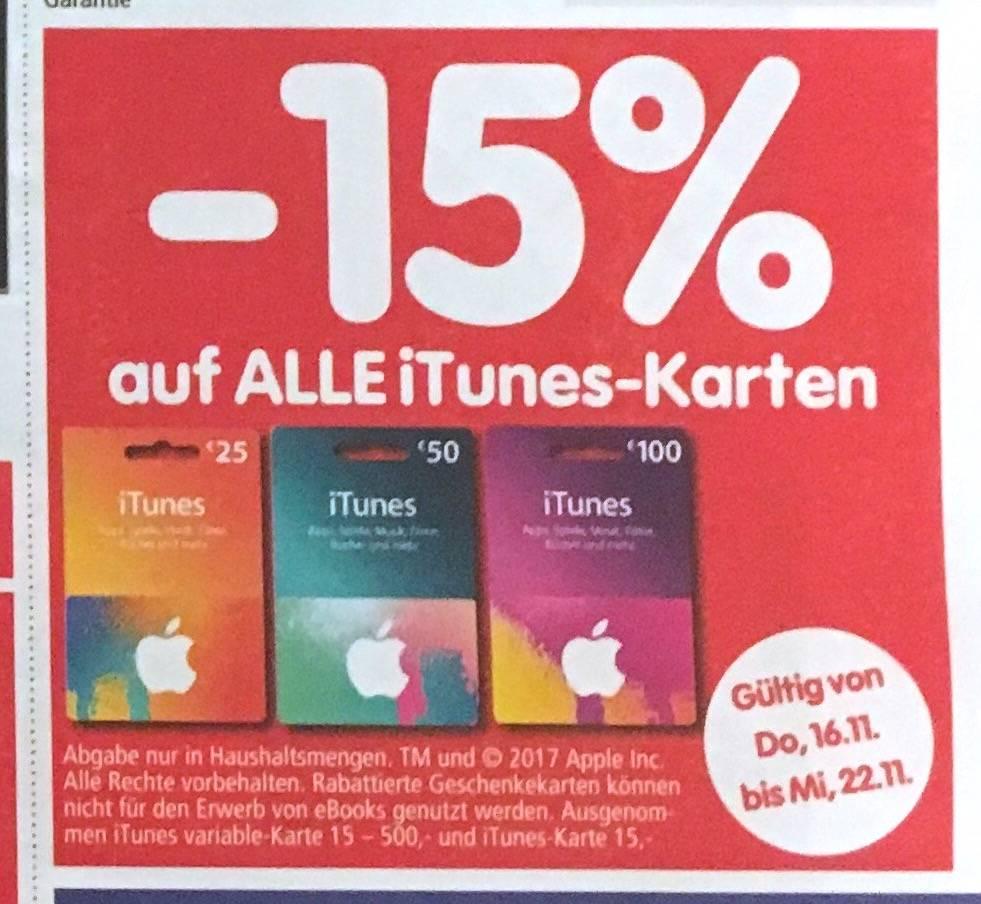[Interspar] -15% auf 25 EUR, 50 EUR und 100 EUR. iTunes Karten bis 22.11.2017