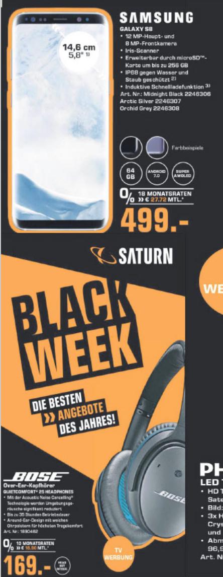 Saturn/Amazon: Samsung S8 um 499 € / Bose Quiet Comfort 25 um 169 €