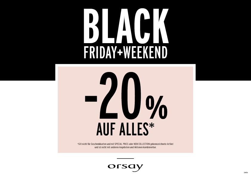 Orsay Black Friday: 20% Rabatt auf alles - vom 24. bis zum 26. November