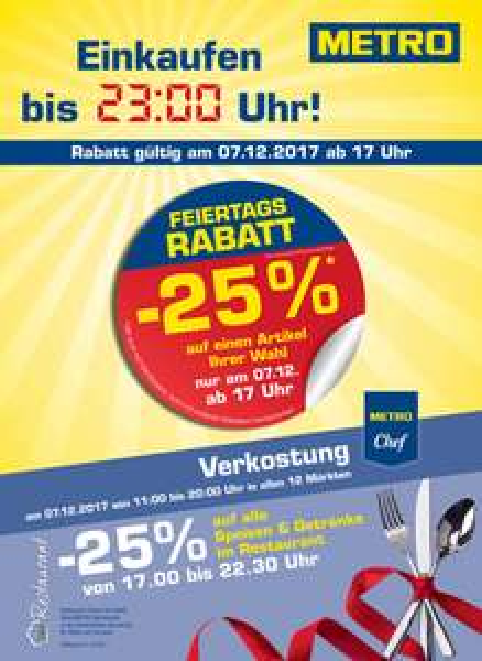 [METRO] -25% auf einen Artikel inkl. Werbeware (nur am 07.12. ab 17:00 Uhr)