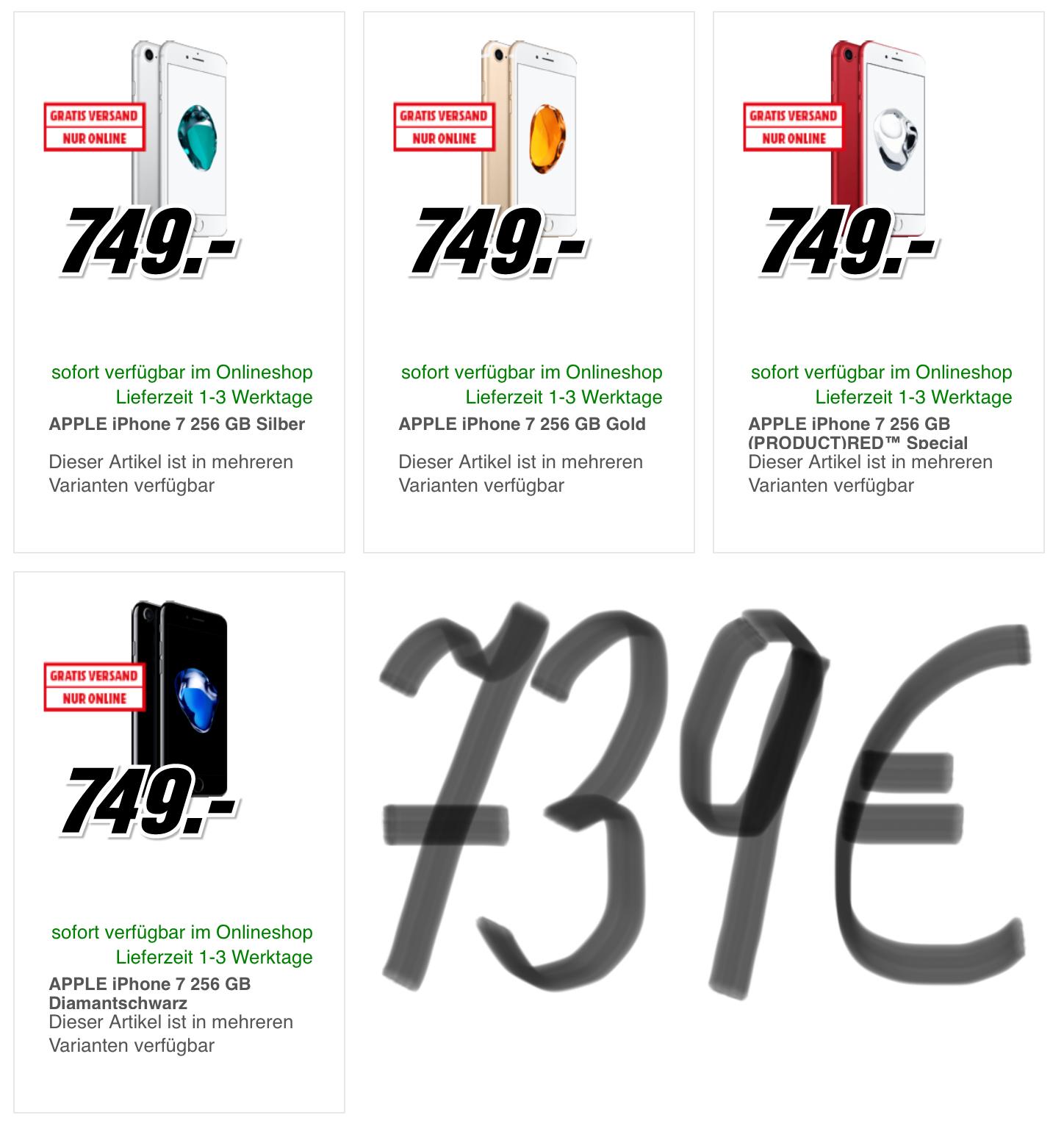 Apple iPhone 7 (256 GB) um 739 € - Bestpreis