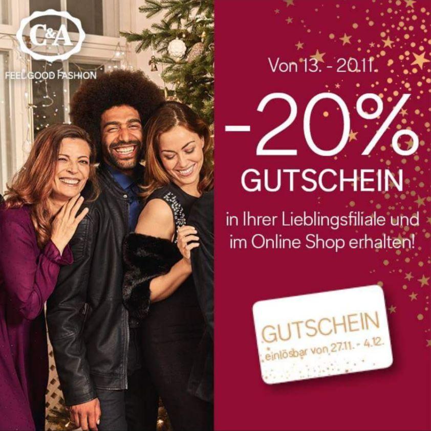 [C&A] Jetzt bis spätestens 20.11. shoppen und 20% Rabattgutschein auf nächsten Einkauf zw. 27.11. – 04.12. sichern