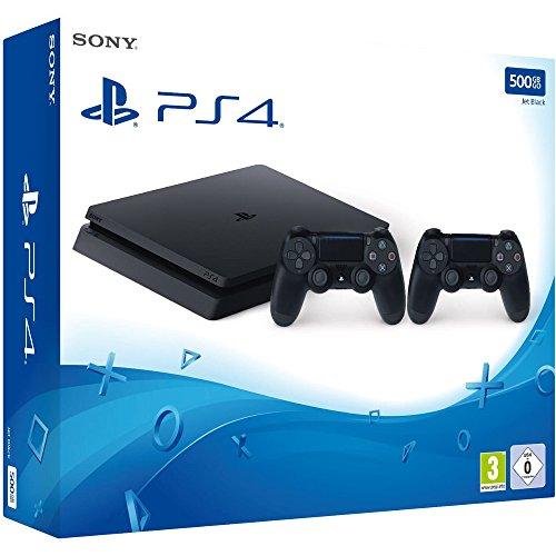 PlayStation 4 - Konsole (500GB, schwarz, slim) inkl. 2. DualShock Controller für 229€