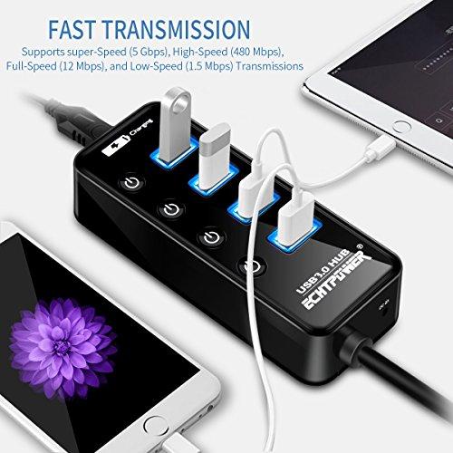 [Amazon.de] ECHTPower 4 Port USB 3.0 HUB Datenhub Erweiterung, USB Extra Leicht Verteiler mit 2.4A USB Ladeanschluss und Ein/Aus Schaltern. Laufzeit: 5 Stunden und 31 Minuten
