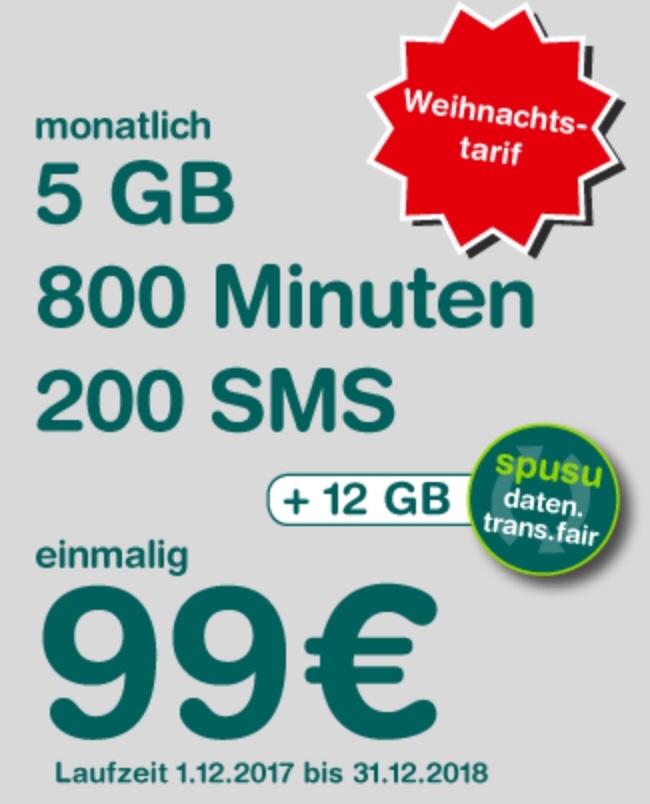 """(Top!) Spusu """"2018"""" Weihnachtstarif - um 99 € für 13 Monate!"""