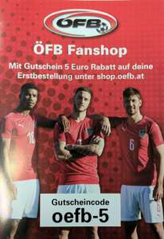 5€ Rabatt im neuen ÖFB Fanshop gültig bis 30.11.2017