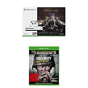 div. Xbox One S Bundles im Angebot  - u.a. mit: Xbox One S 500GB + Mittelerde: Schatten des Krieges + Call of Duty: WWII für 219,99€
