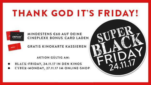 Cineplexx-Freikarte bei Aufladung der Bonus Card am Black Friday oder Cyber Monday