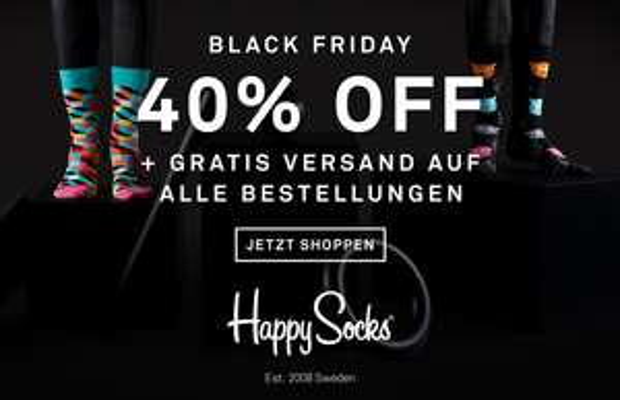 Happy Socks Black Friday Deal -> -40% und gratis Versand