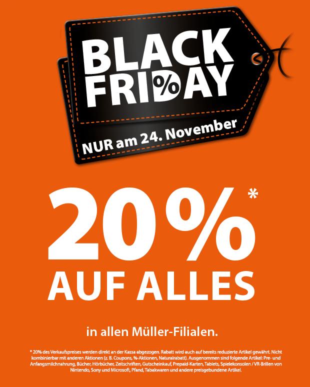 Müller Black Friday: 20% Rabatt auf fast alles (auch auf reduzierte Artikel!)