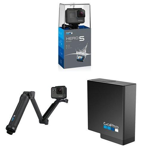 GoPro HERO5 Black Action Kamera (schwarz/grau) mit GoPro 3-Wege Halterung und Akku
