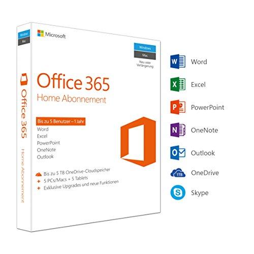 Microsoft Office 365 Home multilingual | 5 Geräte | 1 Jahresabonnement | PC/Mac |