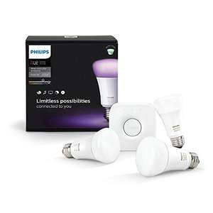 Philips Hue White & Color Ambiance E27 LED Lampe Starter Set (drei Lampen 3. Generation inkl. Bridge) für 116€