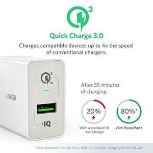 [Amazon.de] Anker PowerPort+ 1 Quick Charge 3.0 18W USB Wand Ladegerät mit Power IQ nur 9,74€