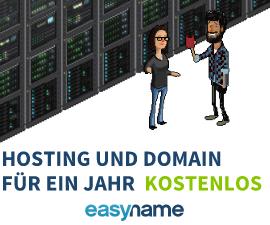 Gratis 20GB Webspace und .at/de/com Domain bei easyname